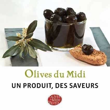 Dépliant Triptyque sur les olives du Midi de la France : un produit, des saveurs
