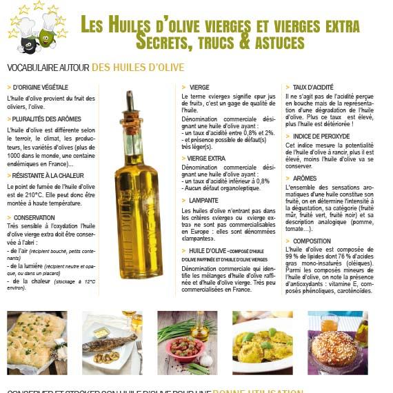 Fiche Elève de vocabulaire autour des huiles d'olive : secrets, trucs et astuces