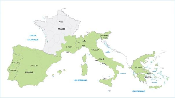 Carte d'Europe oléicole